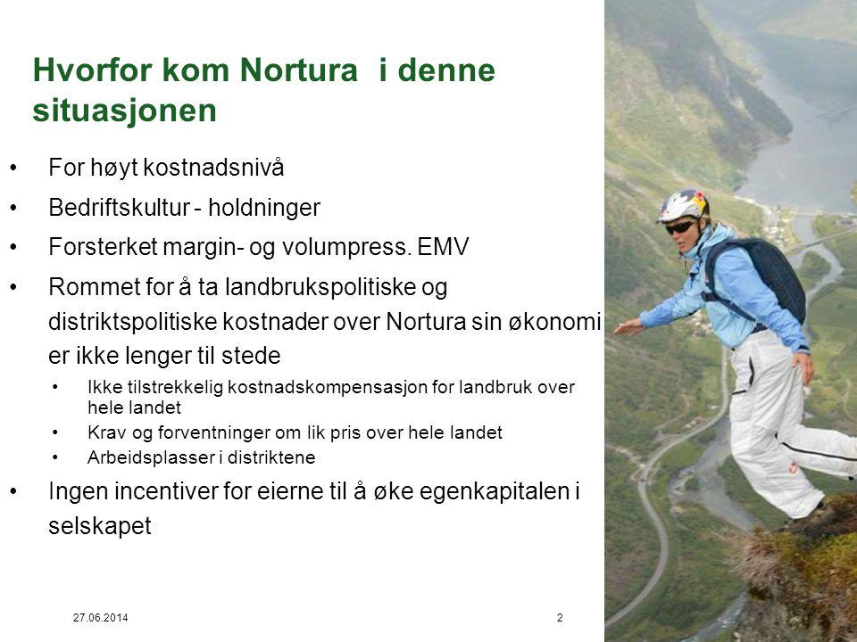 27.06.20142 Hvorfor kom Nortura i denne situasjonen •For høyt kostnadsnivå •Bedriftskultur - holdninger •Forsterket margin- og volumpress. EMV •Rommet