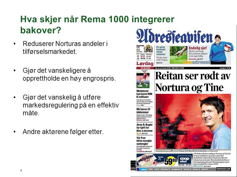 4 Hva skjer når Rema 1000 integrerer bakover? •Reduserer Norturas andeler i tilførselsmarkedet. •Gjør det vanskeligere å opprettholde en høy engrospri