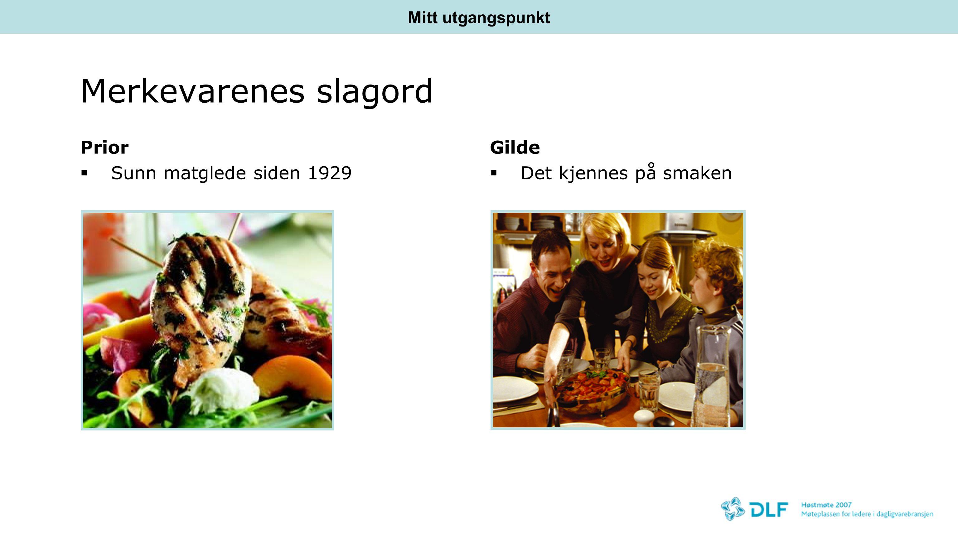 Merkevarenes slagord Prior  Sunn matglede siden 1929 Gilde  Det kjennes på smaken Mitt utgangspunkt
