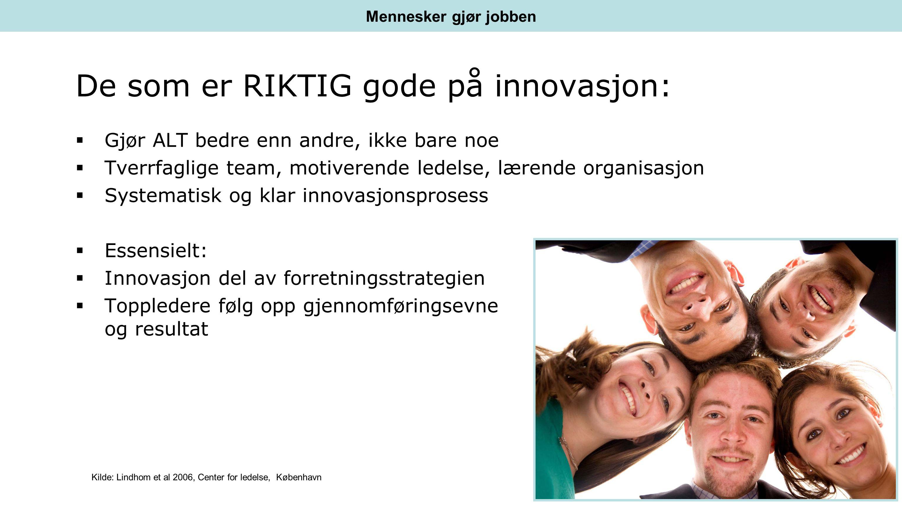 De som er RIKTIG gode på innovasjon:  Gjør ALT bedre enn andre, ikke bare noe  Tverrfaglige team, motiverende ledelse, lærende organisasjon  Systematisk og klar innovasjonsprosess  Essensielt:  Innovasjon del av forretningsstrategien  Toppledere følg opp gjennomføringsevne og resultat Mennesker gjør jobben Kilde: Lindhom et al 2006, Center for ledelse, København