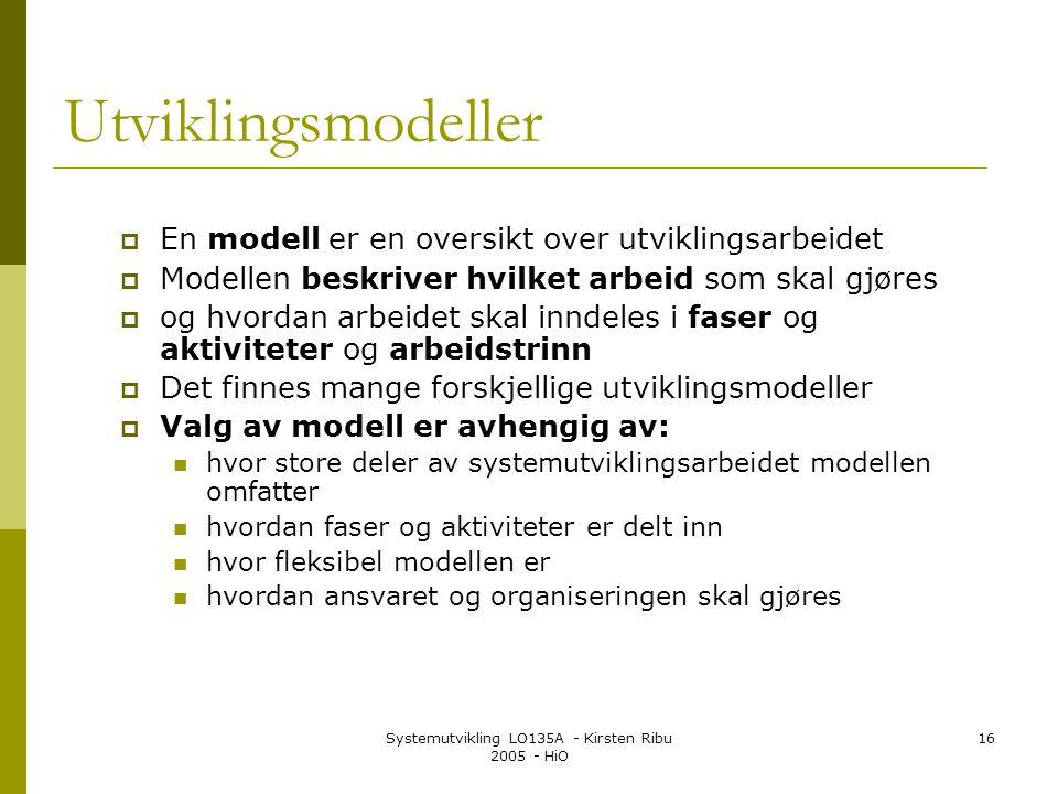 Systemutvikling LO135A - Kirsten Ribu 2005 - HiO 16 Utviklingsmodeller  En modell er en oversikt over utviklingsarbeidet  Modellen beskriver hvilket