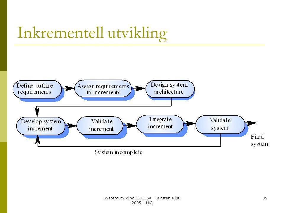 Systemutvikling LO135A - Kirsten Ribu 2005 - HiO 35 Inkrementell utvikling