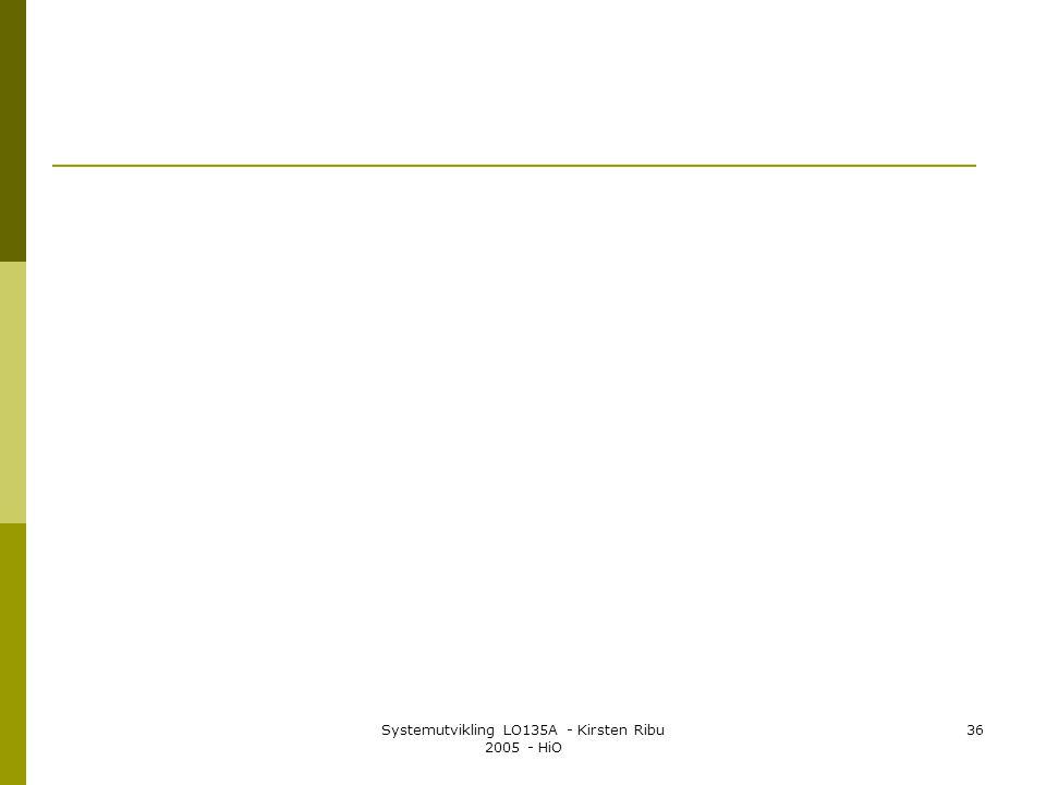Systemutvikling LO135A - Kirsten Ribu 2005 - HiO 36