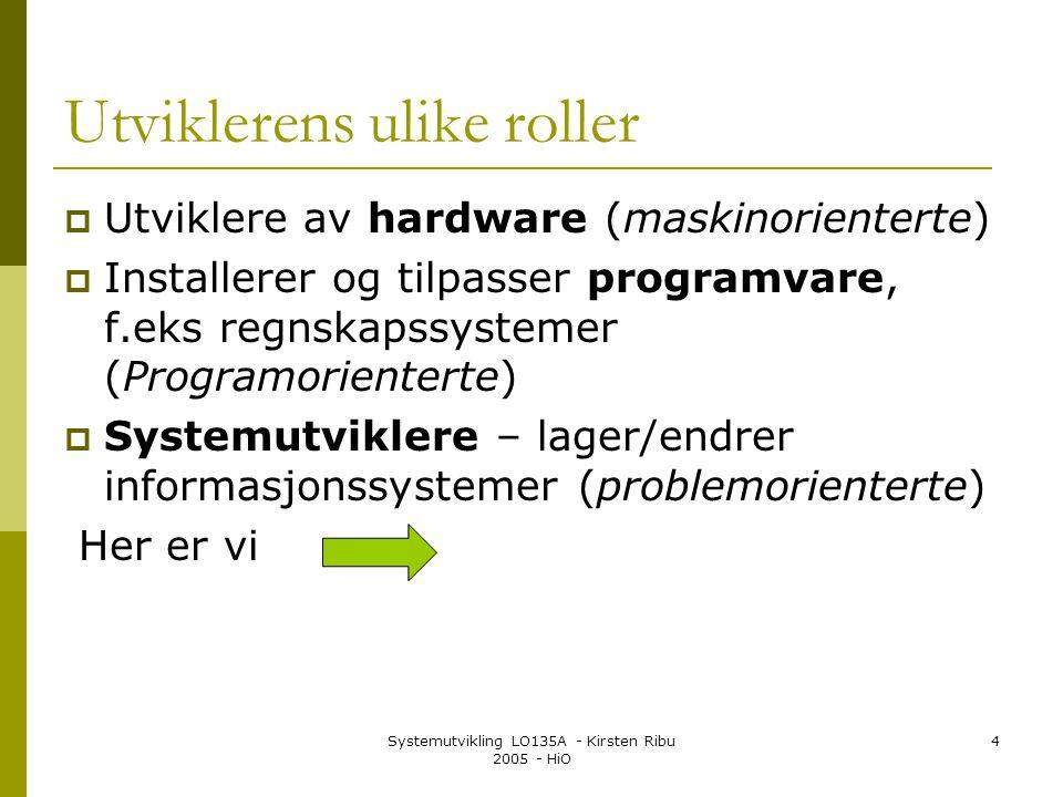 Systemutvikling LO135A - Kirsten Ribu 2005 - HiO 4 Utviklerens ulike roller  Utviklere av hardware (maskinorienterte)  Installerer og tilpasser prog