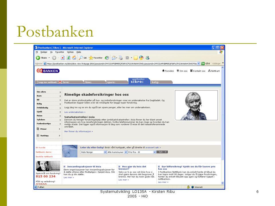 Systemutvikling LO135A - Kirsten Ribu 2005 - HiO 6 Postbanken