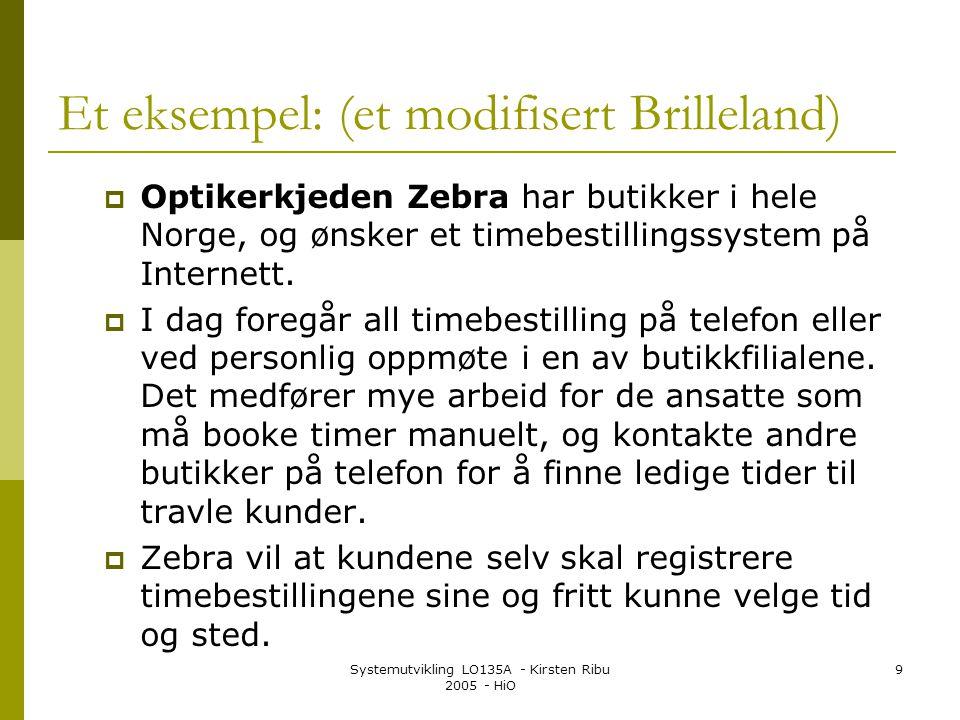 Systemutvikling LO135A - Kirsten Ribu 2005 - HiO 9 Et eksempel: (et modifisert Brilleland)  Optikerkjeden Zebra har butikker i hele Norge, og ønsker