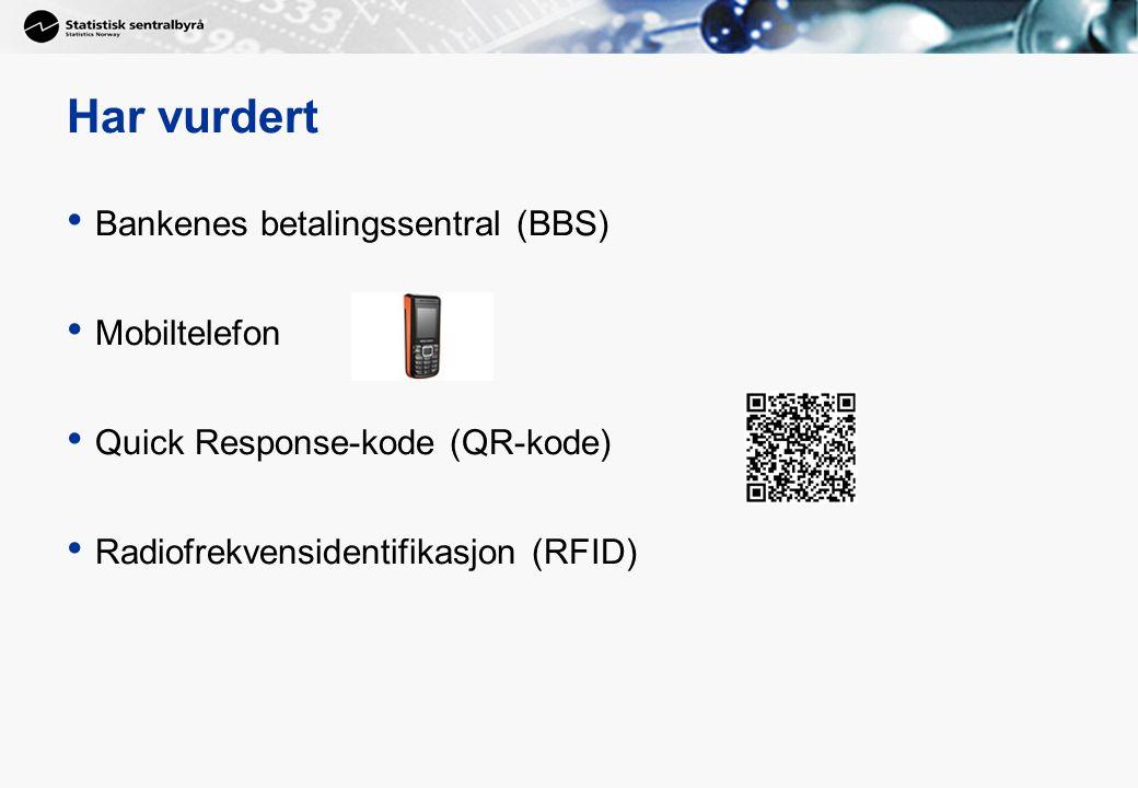 Har vurdert • Bankenes betalingssentral (BBS) • Mobiltelefon • Quick Response-kode (QR-kode) • Radiofrekvensidentifikasjon (RFID)