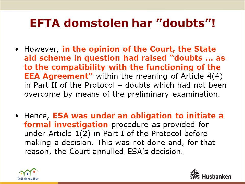EFTA domstolen har doubts .