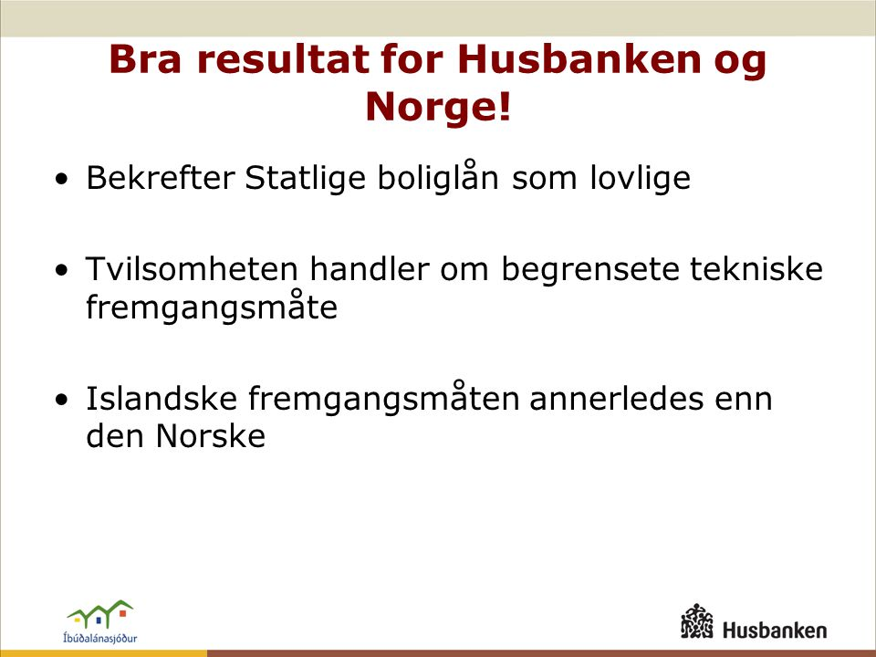 Bra resultat for Husbanken og Norge.