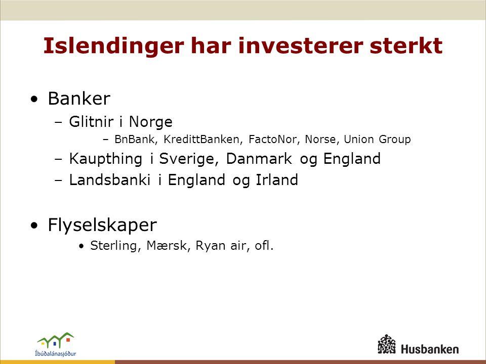 Islendinger har investerer sterkt •Banker –Glitnir i Norge –BnBank, KredittBanken, FactoNor, Norse, Union Group –Kaupthing i Sverige, Danmark og England –Landsbanki i England og Irland •Flyselskaper •Sterling, Mærsk, Ryan air, ofl.