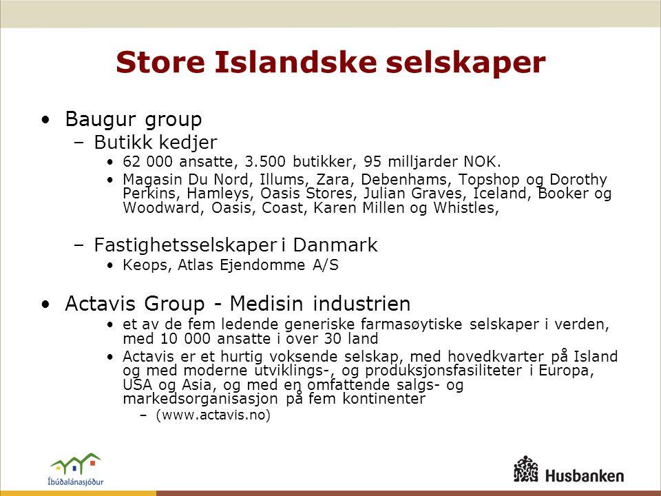 Store Islandske selskaper •Baugur group –Butikk kedjer •62 000 ansatte, 3.500 butikker, 95 milljarder NOK. •Magasin Du Nord, Illums, Zara, Debenhams,