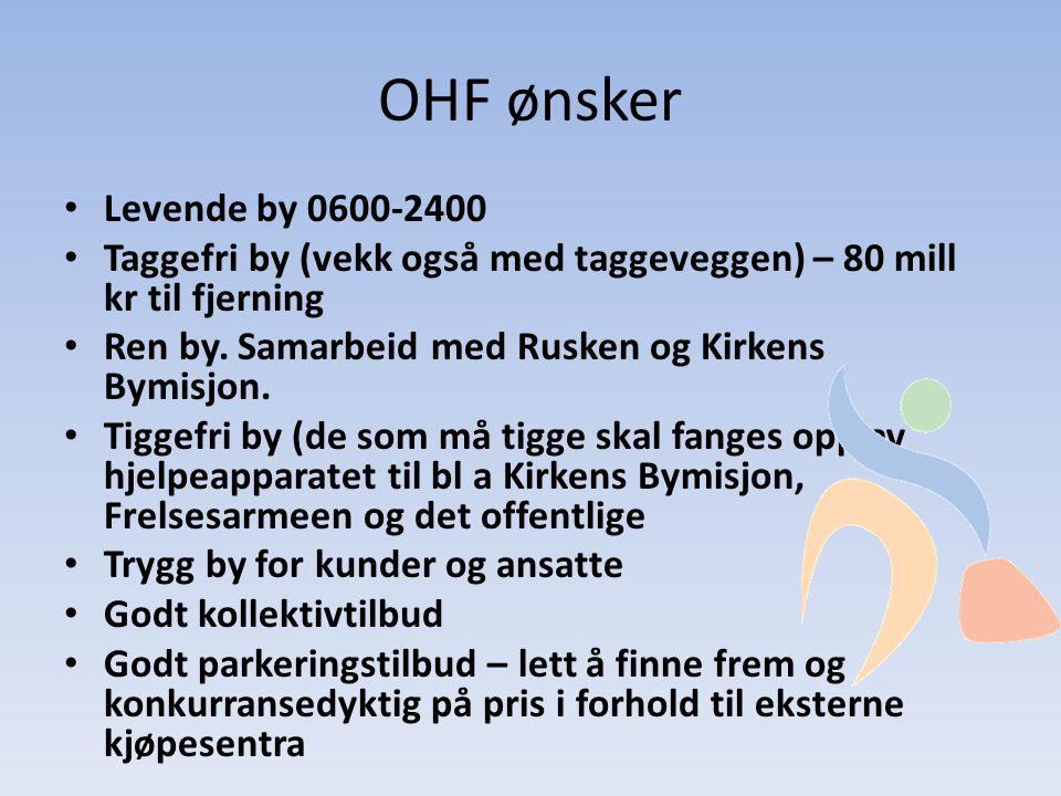 OHF ønsker • Levende by 0600-2400 • Taggefri by (vekk også med taggeveggen) – 80 mill kr til fjerning • Ren by.