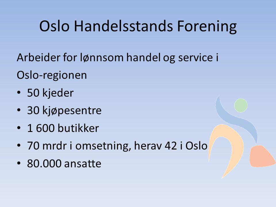 Oslo Handelsstands Forening Arbeider for lønnsom handel og service i Oslo-regionen • 50 kjeder • 30 kjøpesentre • 1 600 butikker • 70 mrdr i omsetning, herav 42 i Oslo • 80.000 ansatte