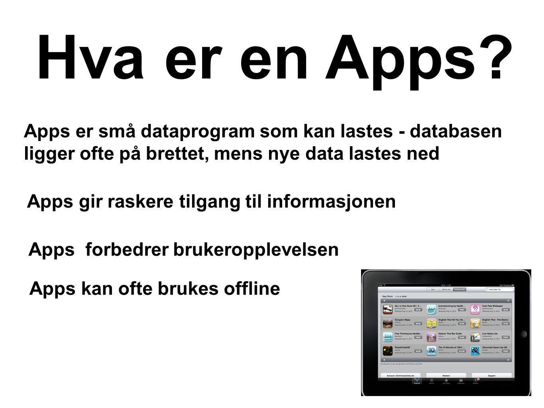 Apps er små dataprogram som kan lastes - databasen ligger ofte på brettet, mens nye data lastes ned Hva er en Apps? Apps forbedrer brukeropplevelsen A