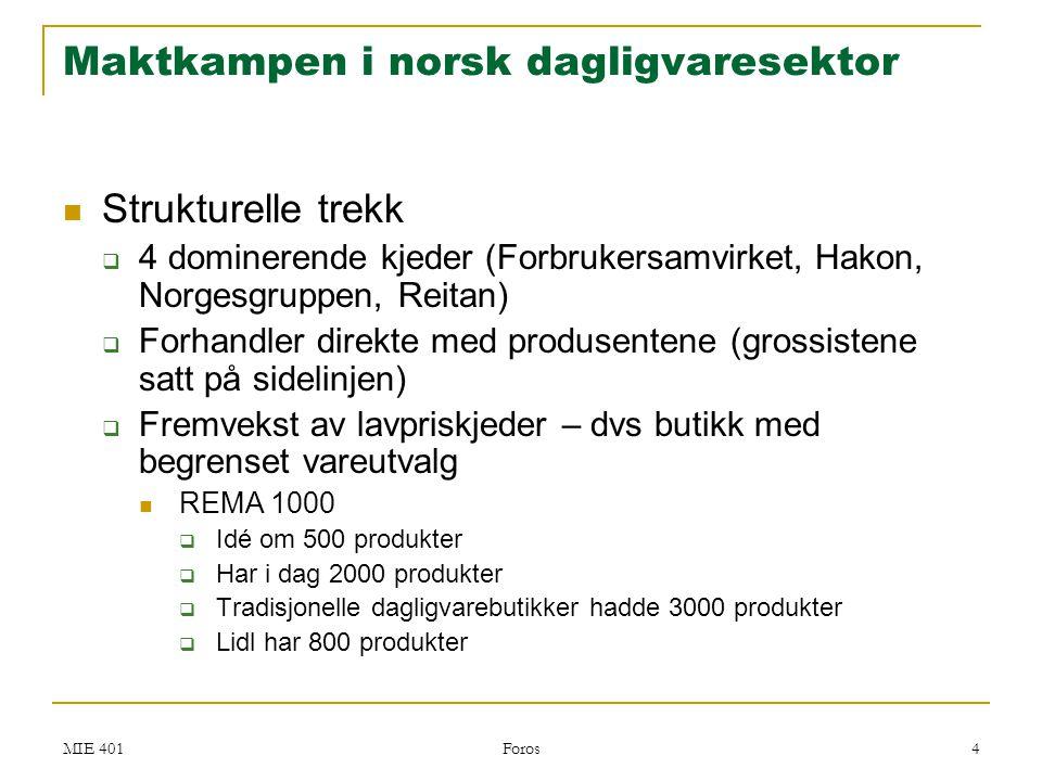 MIE 401 Foros 4 Maktkampen i norsk dagligvaresektor  Strukturelle trekk  4 dominerende kjeder (Forbrukersamvirket, Hakon, Norgesgruppen, Reitan)  F