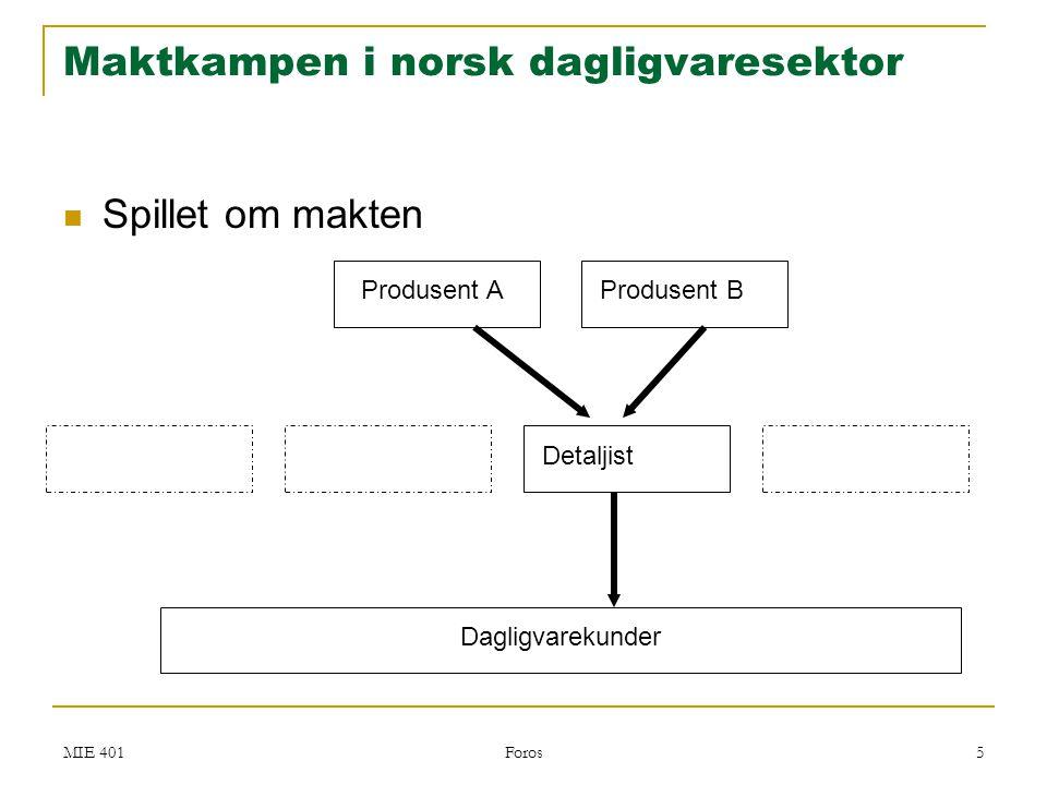 MIE 401 Foros 5 Maktkampen i norsk dagligvaresektor  Spillet om makten Produsent AProdusent B Detaljist Dagligvarekunder