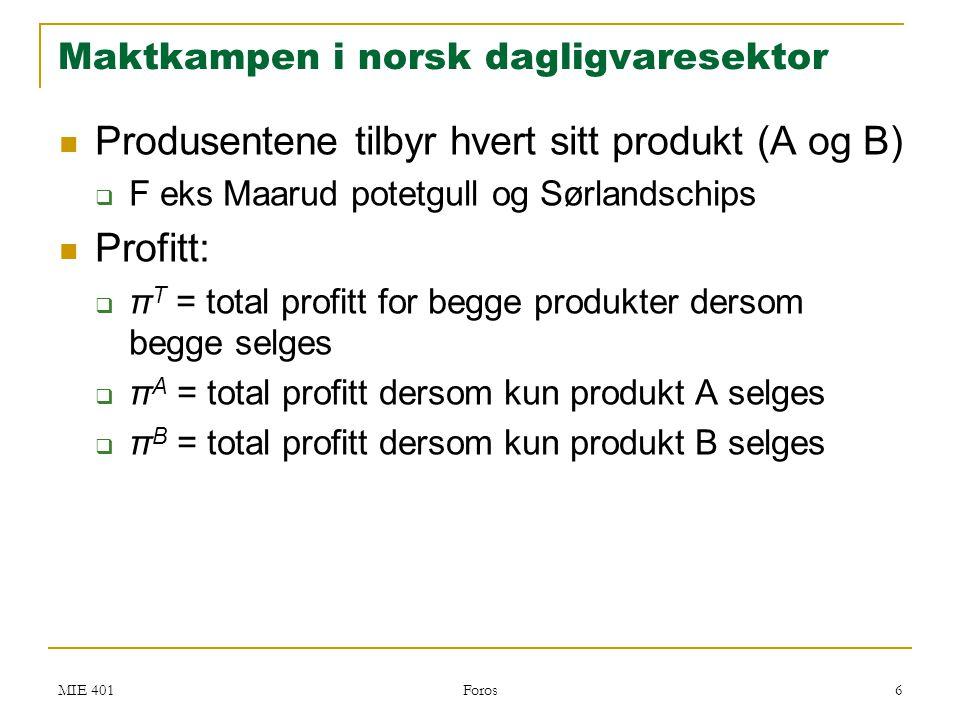 MIE 401 Foros 7  Produktene er imperfekte substitutter  π i < π T < π A + π B i=A,B  π T < π A + π B : Stjeler salg og profitt fra hverandre  π i < π T : merverdi av nytt produkt Maktkampen i norsk dagligvaresektor