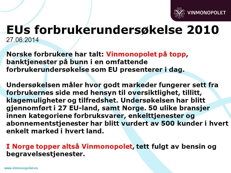 www.vinmonopolet.no 27.06.2014 EUs forbrukerundersøkelse 2010 Norske forbrukere har talt: Vinmonopolet på topp, banktjenester på bunn i en omfattende forbrukerundersøkelse som EU presenterer i dag.