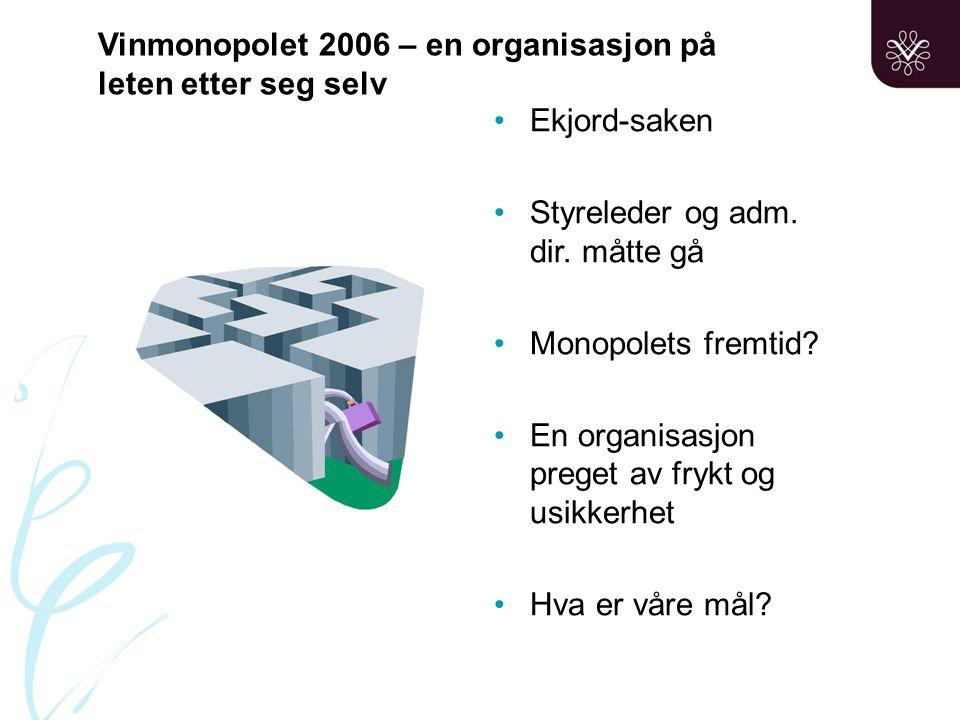 Vinmonopolet 2006 – en organisasjon på leten etter seg selv •Ekjord-saken •Styreleder og adm.