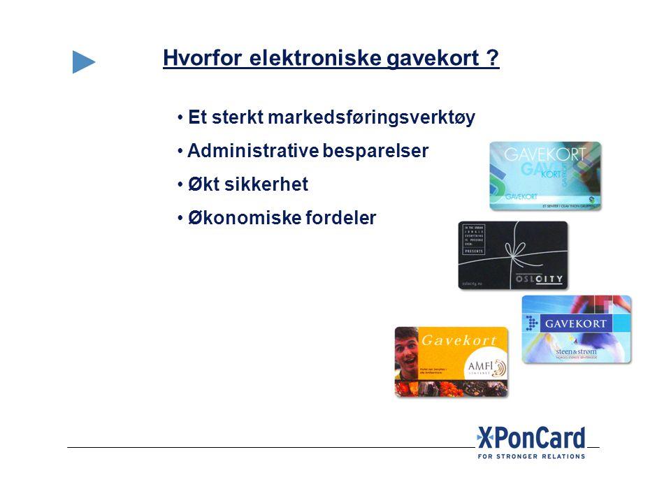 • Et sterkt markedsføringsverktøy • Administrative besparelser • Økt sikkerhet • Økonomiske fordeler Hvorfor elektroniske gavekort ?