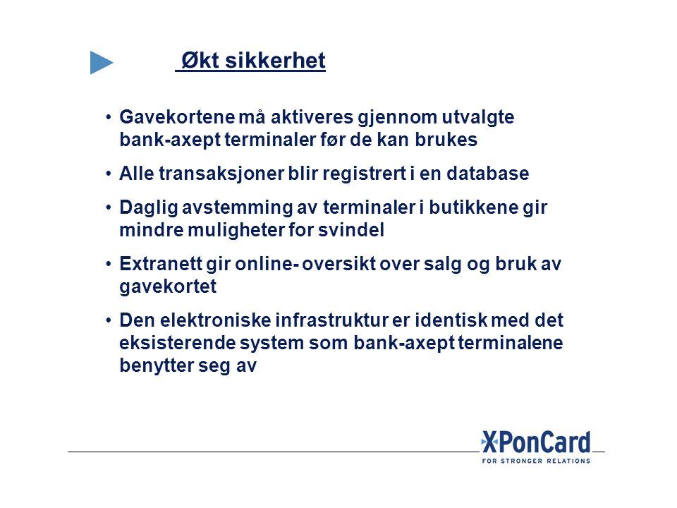 Økt sikkerhet •Gavekortene må aktiveres gjennom utvalgte bank-axept terminaler før de kan brukes •Alle transaksjoner blir registrert i en database •Da