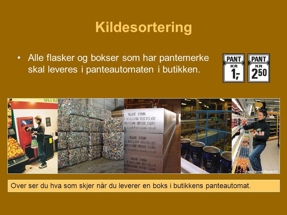 Kildesortering •Alle flasker og bokser som har pantemerke skal leveres i panteautomaten i butikken. Over ser du hva som skjer når du leverer en boks i