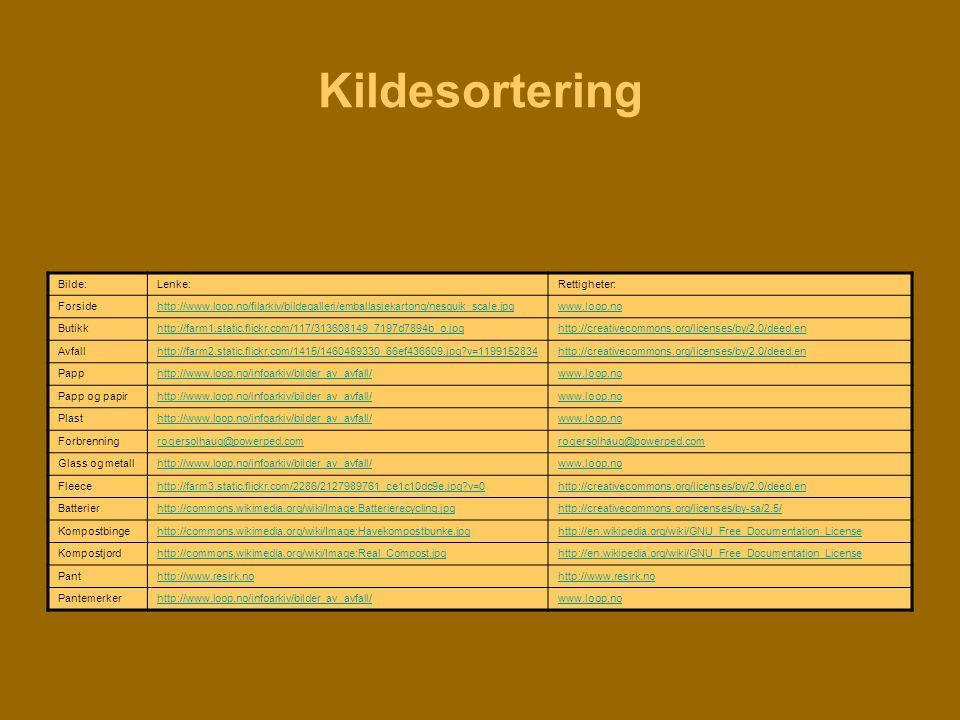 Kildesortering Bilde:Lenke:Rettigheter: Forsidehttp://www.loop.no/filarkiv/bildegalleri/emballasjekartong/nesquik_scale.jpgwww.loop.no Butikkhttp://fa