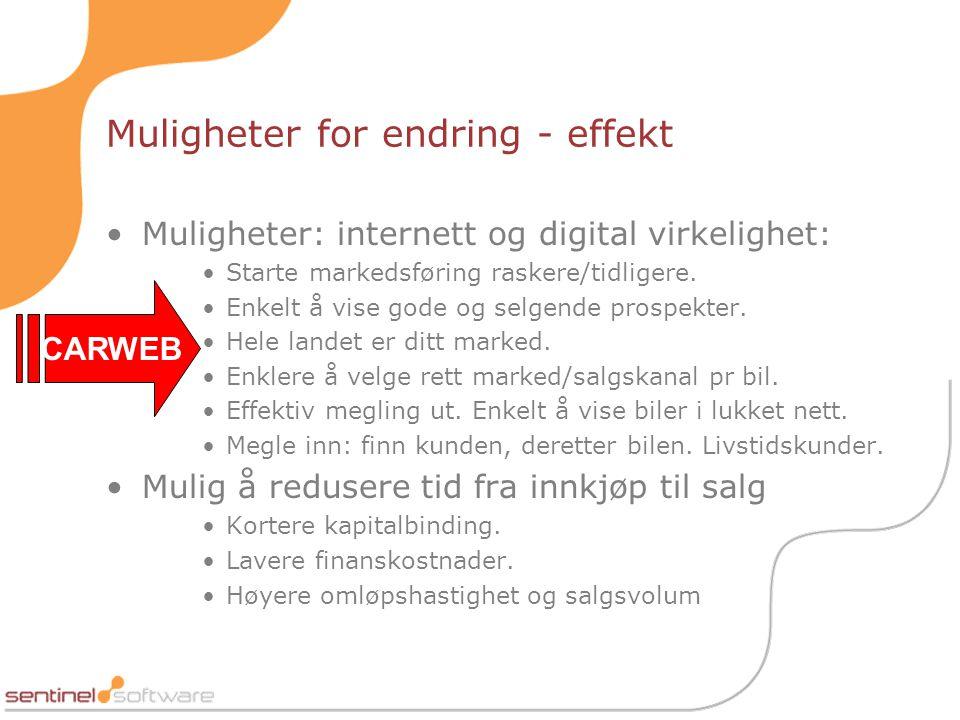 Muligheter for endring - effekt •Muligheter: internett og digital virkelighet: •Starte markedsføring raskere/tidligere.