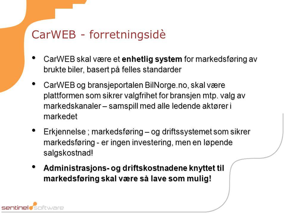 CarWEB - forretningsidè • CarWEB skal være et enhetlig system for markedsføring av brukte biler, basert på felles standarder • CarWEB og bransjeportalen BilNorge.no, skal være plattformen som sikrer valgfrihet for bransjen mtp.