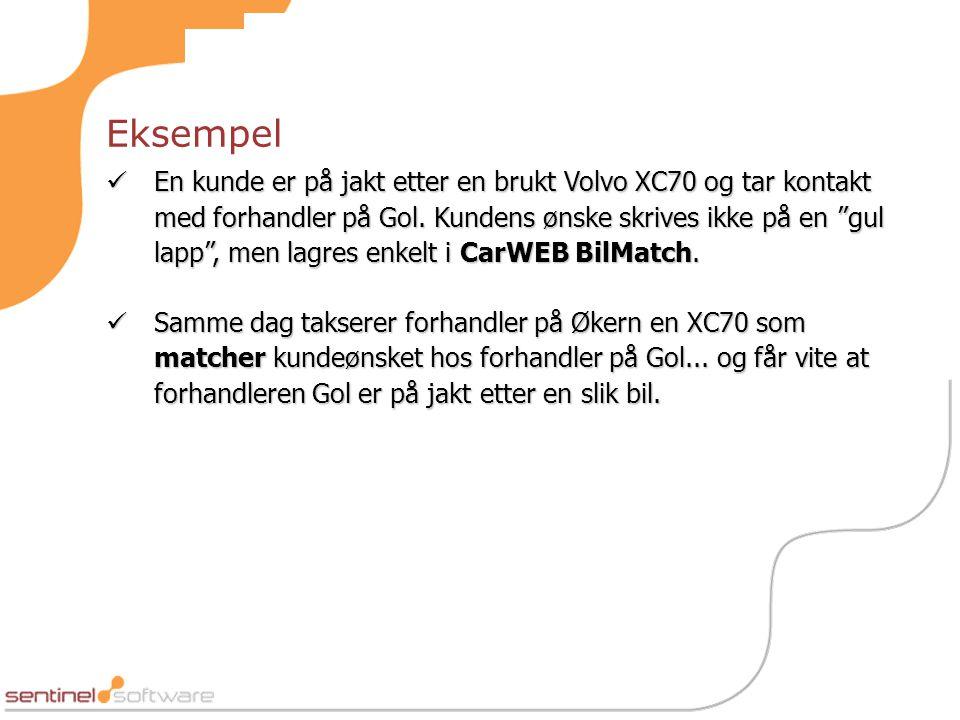 Eksempel  En kunde er på jakt etter en brukt Volvo XC70 og tar kontakt med forhandler på Gol.