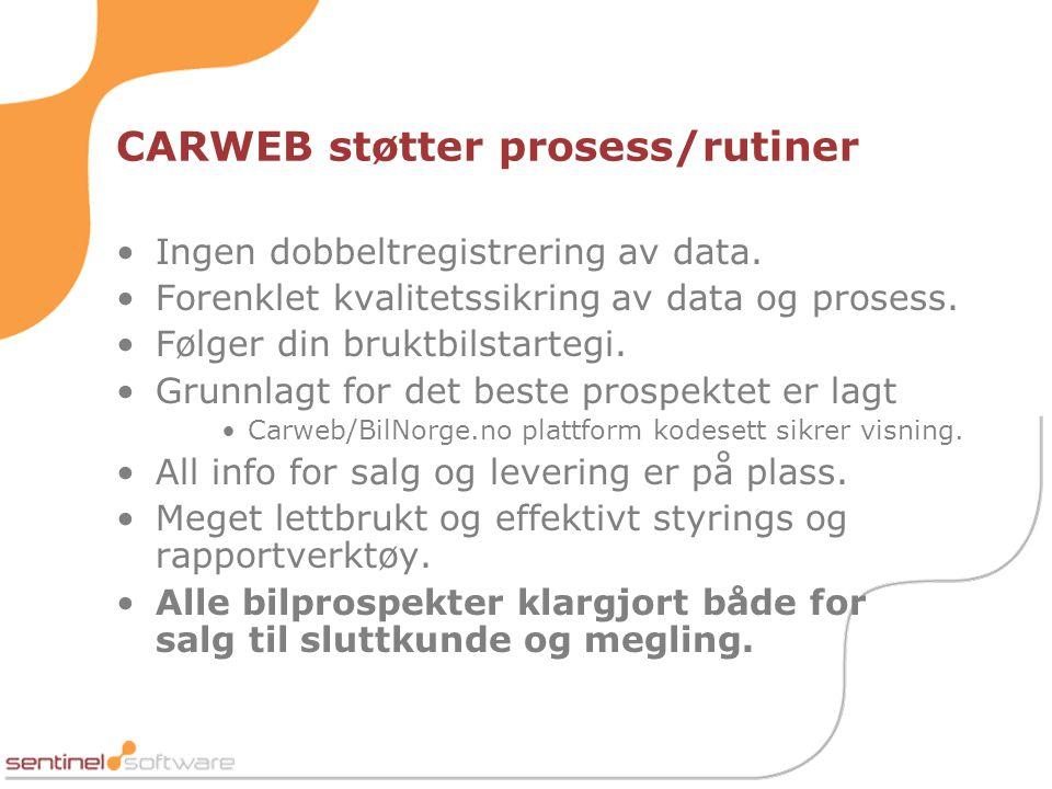 CARWEB støtter prosess/rutiner •Ingen dobbeltregistrering av data.
