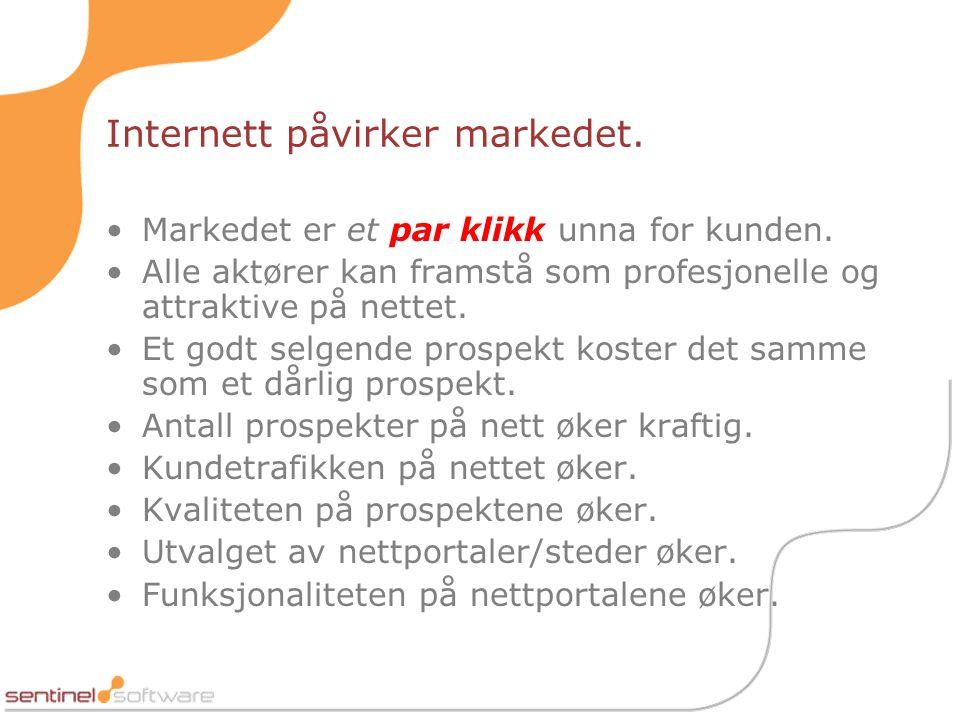 Internett påvirker markedet.•Markedet er et par klikk unna for kunden.
