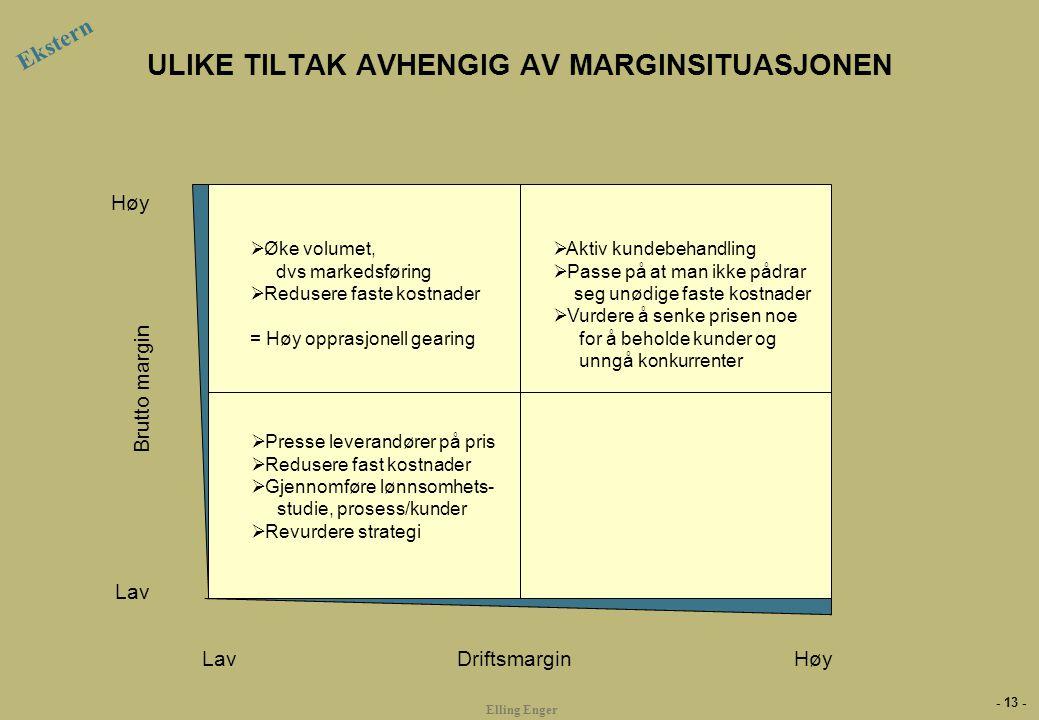 - 13 - Elling Enger ULIKE TILTAK AVHENGIG AV MARGINSITUASJONEN Ekstern Brutto margin Lav Høy Driftsmargin  Aktiv kundebehandling  Passe på at man ik