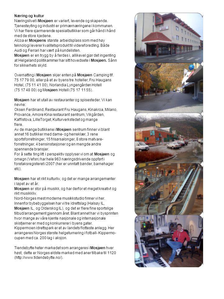 Næring og kultur Næringslivet i Mosjøen er variert, levende og skapende. Tjenesteyting og industri er primærnæringene i kommunen. Vi har flere sjarmer