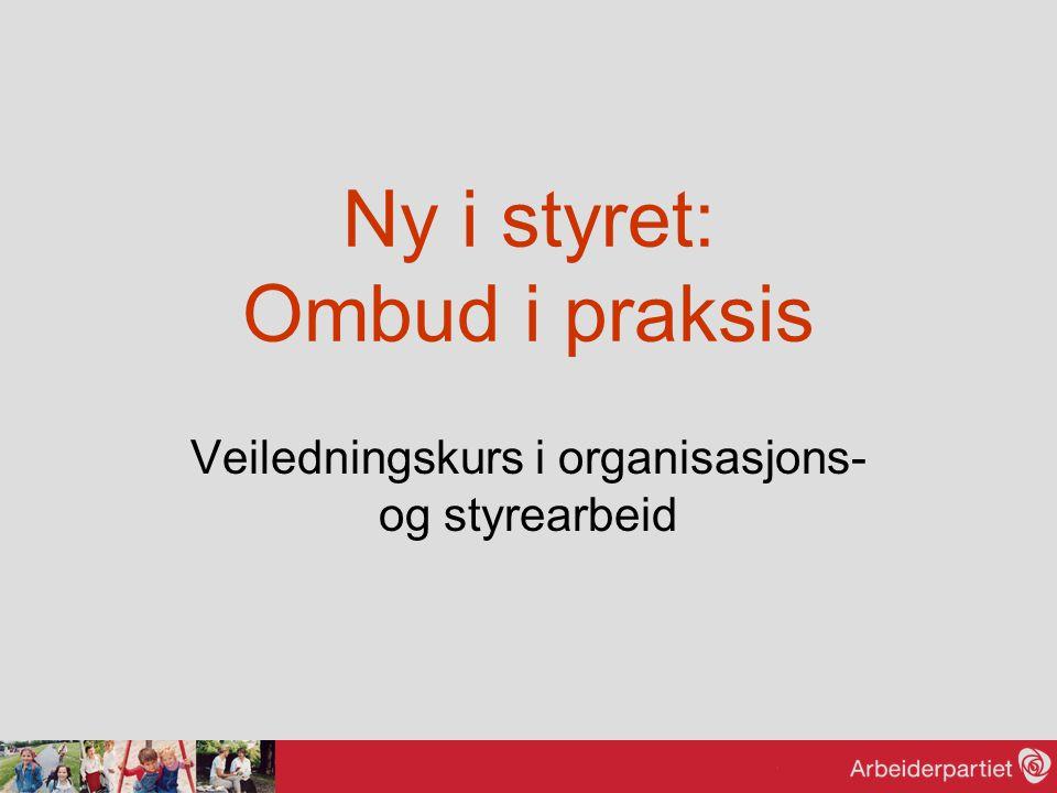 Ny i styret: Ombud i praksis Veiledningskurs i organisasjons- og styrearbeid