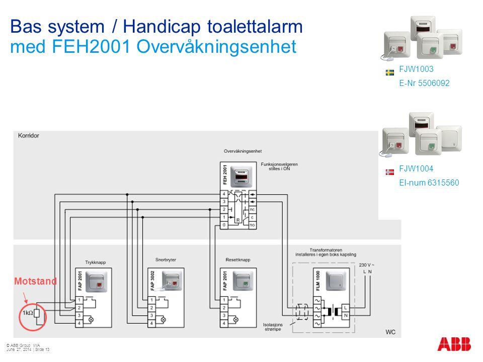 Bas system / Handicap toalettalarm med FEH2001 Overvåkningsenhet © ABB Group WA June 27, 2014 | Slide 13 Motstand FJW1003 E-Nr 5506092 FJW1004 El-num