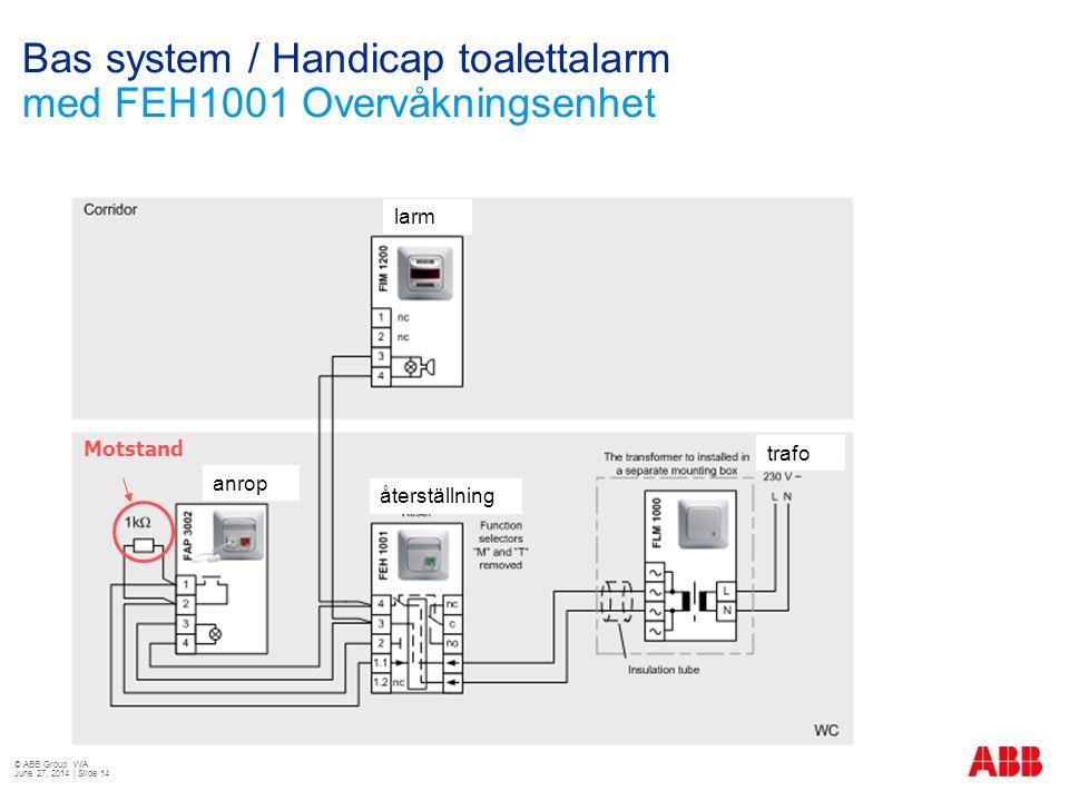 Bas system / Handicap toalettalarm med FEH1001 Overvåkningsenhet Motstand anrop återställning larm trafo © ABB Group WA June 27, 2014 | Slide 14
