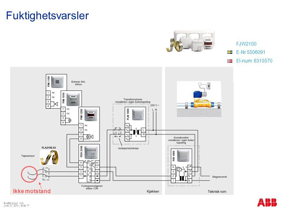 Fuktighetsvarsler © ABB Group WA June 27, 2014 | Slide 17 Ikke motstand FJW2100 E-Nr 5506091 El-num 6315570