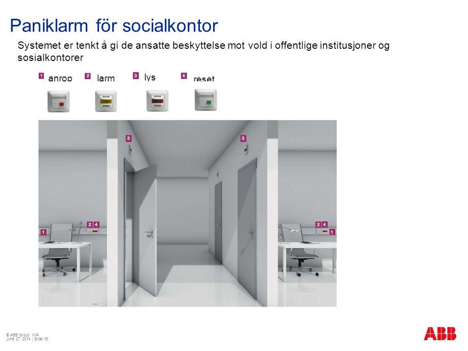 Paniklarm för socialkontor © ABB Group WA June 27, 2014 | Slide 18 Systemet er tenkt å gi de ansatte beskyttelse mot vold i offentlige institusjoner o