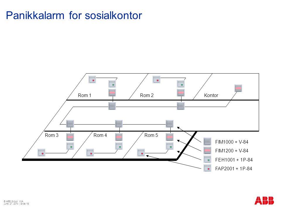 Panikkalarm for sosialkontor © ABB Group WA June 27, 2014 | Slide 19 Rom 1Rom 2 Rom 3Rom 4Rom 5 Kontor FIM1000 + V-84 FIM1200 + V-84 FEH1001 + 1P-84 F