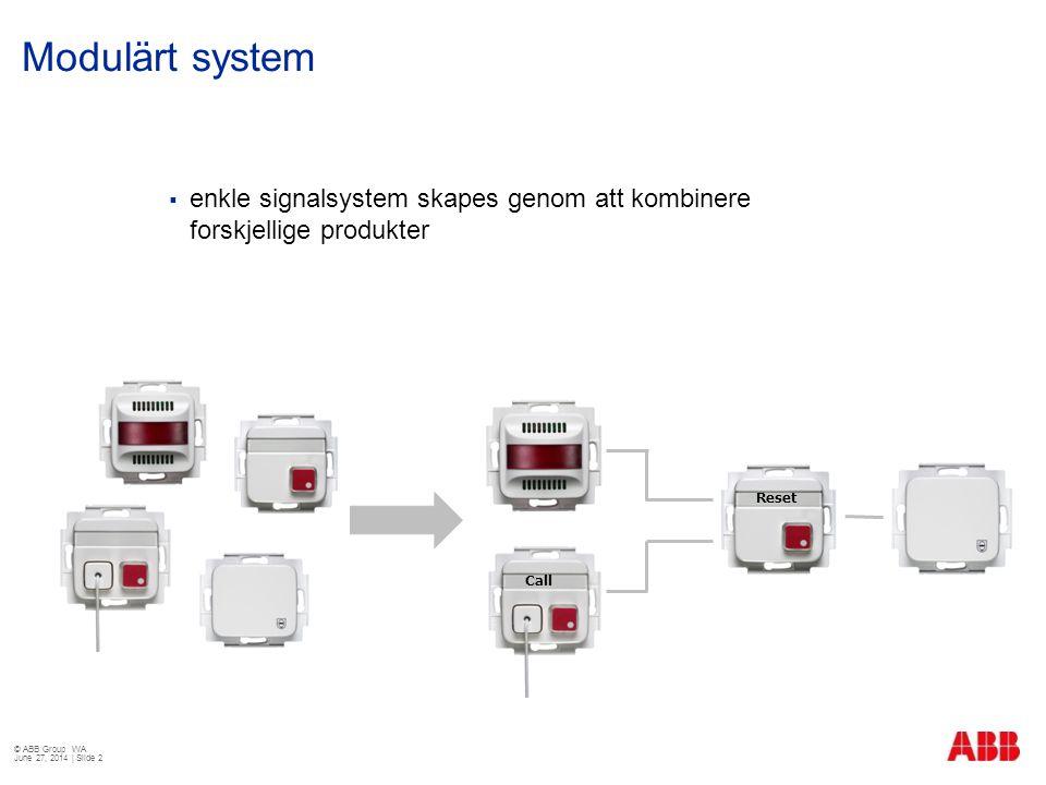 Modulärt system  enkle signalsystem skapes genom att kombinere forskjellige produkter © ABB Group WA June 27, 2014 | Slide 2 Call Reset