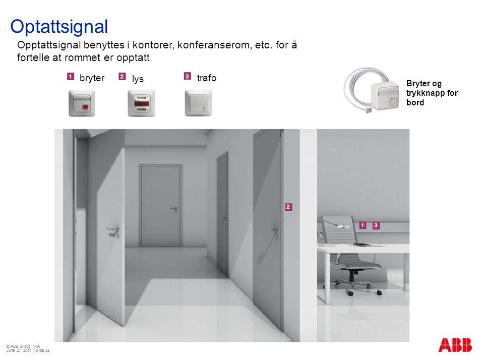 Optattsignal © ABB Group WA June 27, 2014 | Slide 25 Opptattsignal benyttes i kontorer, konferanserom, etc. for å fortelle at rommet er opptatt Bryter