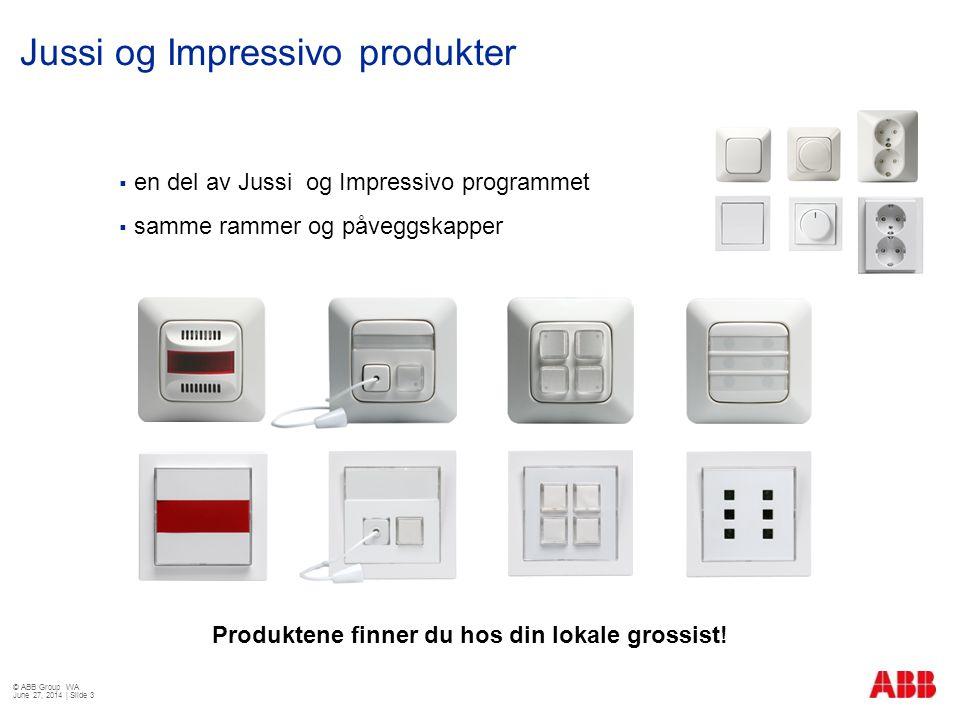  en del av Jussi og Impressivo programmet  samme rammer og påveggskapper Jussi og Impressivo produkter © ABB Group WA June 27, 2014 | Slide 3 Produk