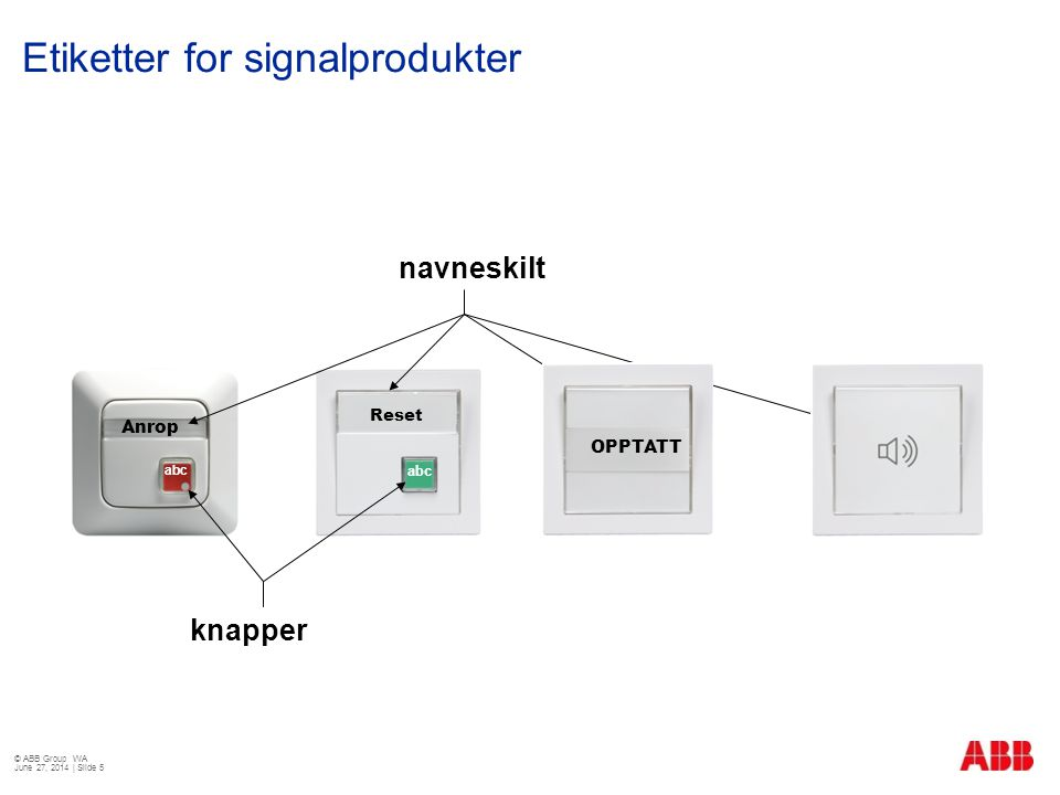 Etiketter for signalprodukter © ABB Group WA June 27, 2014 | Slide 5 Anrop Reset navneskilt knapper abc OPPTATT