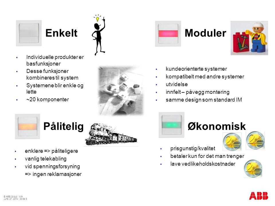  Individuelle produkter er basfunksjoner  Desse funksjoner kombineres til system  Systemene blir enkle og lette  ~20 komponenter  prisgunstig/kva