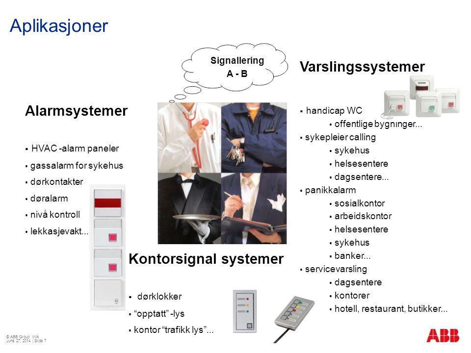 Aplikasjoner © ABB Group WA June 27, 2014 | Slide 7 Signallering A - B Alarmsystemer  HVAC -alarm paneler  gassalarm for sykehus  dørkontakter  dø