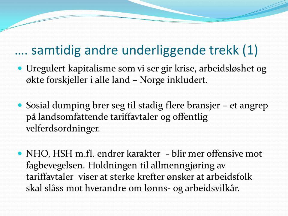 …. samtidig andre underliggende trekk (1)  Uregulert kapitalisme som vi ser gir krise, arbeidsløshet og økte forskjeller i alle land – Norge inkluder