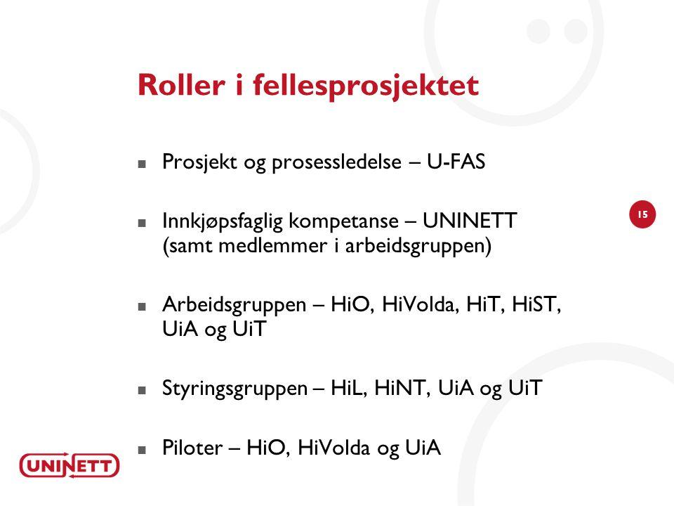 15 Roller i fellesprosjektet  Prosjekt og prosessledelse – U-FAS  Innkjøpsfaglig kompetanse – UNINETT (samt medlemmer i arbeidsgruppen)  Arbeidsgru
