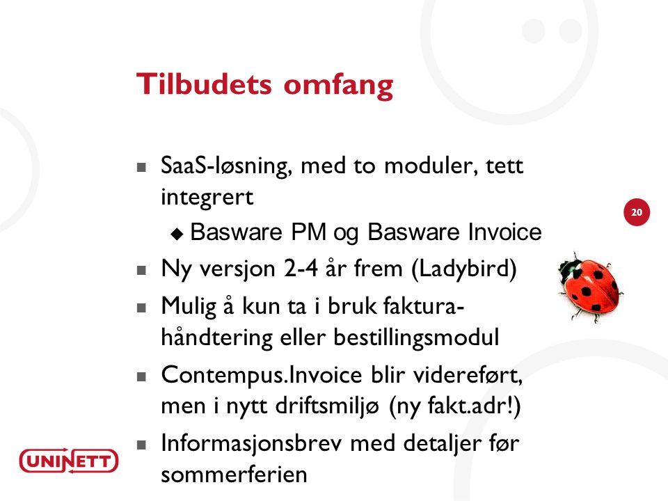20 Tilbudets omfang  SaaS-løsning, med to moduler, tett integrert  Basware PM og Basware Invoice  Ny versjon 2-4 år frem (Ladybird)  Mulig å kun t