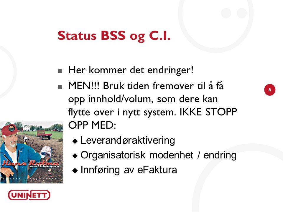 8 Status BSS og C.I.  Her kommer det endringer!  MEN!!! Bruk tiden fremover til å få opp innhold/volum, som dere kan flytte over i nytt system. IKKE